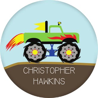 Monster Truck Round Gift Sticker
