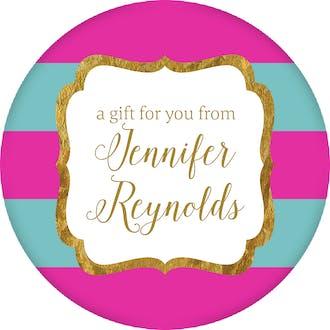 Hot Pink & Teal Glitter Frame Circle Gift Sticker