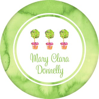 Watercolor Topiaries Circle Gift Sticker