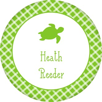Turtle Checkered Circle Gift Sticker