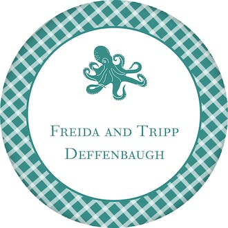 Octopus Checkered Circle Gift Sticker