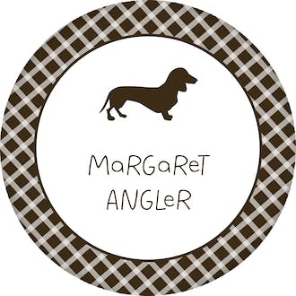 Dacschund Checkered Circle Gift Sticker