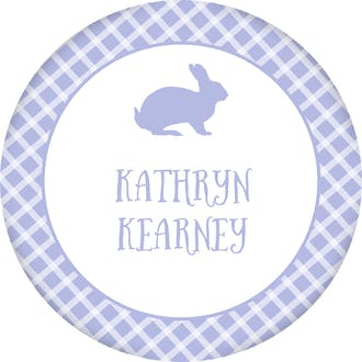 Bunny Checkered Circle Gift Sticker