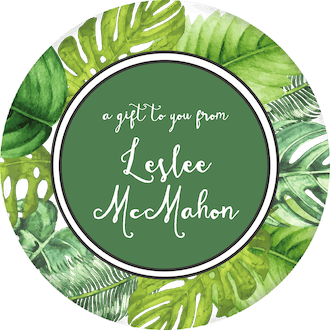 Palm Leaves Circle Gift Sticker
