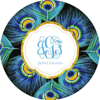 Peacock Feathers Circle Gift Sticker