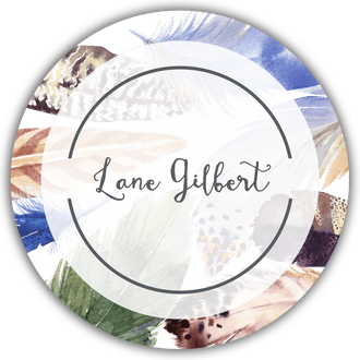 Watercolor Feathers Circle Gift Sticker