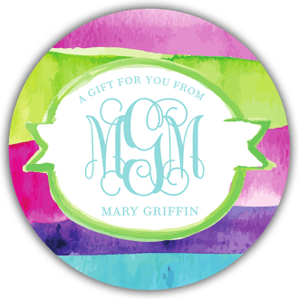 Watercolor Monogrammed Circle Gift Sticker