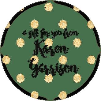 Glittery Gold Polka Dots Circle Gift Sticker