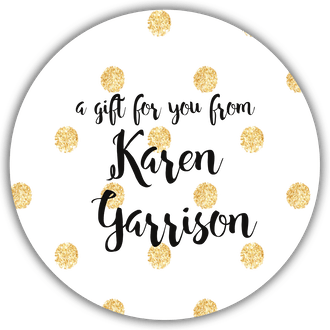 Glittery Gold Polka Dots Circle Gift Sticker