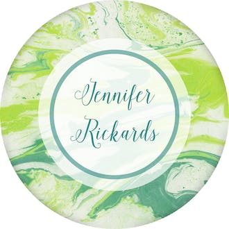 Shades Of Green Marbled Circle Gift Sticker