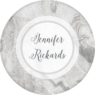 Shades Of Gray Marbled Circle Gift Sticker