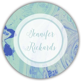 Shades Of Blue Marbled Circle Gift Sticker