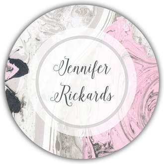 Pink And Gray Marbled Circle Gift Sticker
