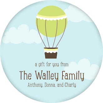 Hot Air Balloon Circle Gift Sticker