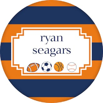 Sports Circle Gift Sticker With Orange And Navy Stripes