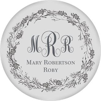 Gray Circle Gift Sticker With Dark Gray Wreath