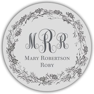 Gray Circle Gift Sticker With Dark Gray Wreath