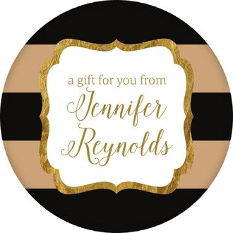 Black & Taupe Glitter Frame Circle Gift Sticker