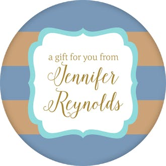 Blue & Taupe Stripes Circle Gift Sticker