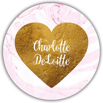 Pink Marbled Glitter Gold Heart Circle Gift Sticker