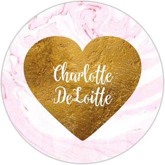 Pink Marbled Glitter Gold Heart Circle Gift Sticker