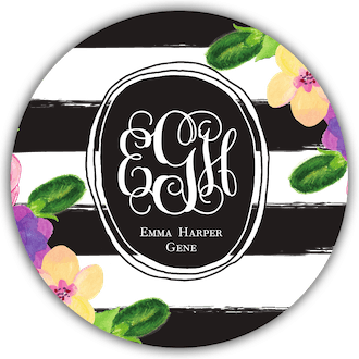 Floral Monogrammed Circle Gift Sticker