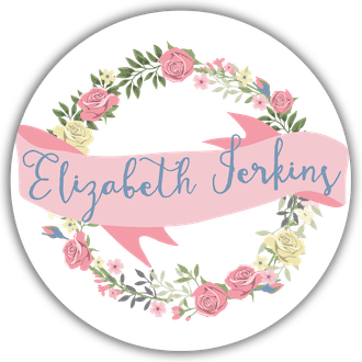 Floral Wreath And Banner Circle Gift Sticker