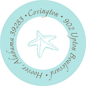 Blue starfish circle address label