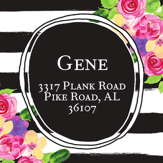 Floral Square Return Address Label