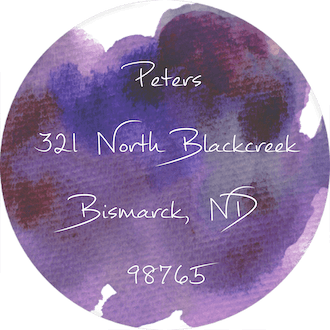 Purple Watercolor Circle Return Address Label