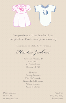 Boy and Girl Twin Monogrammed Clothes Invitation