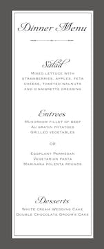 Simply Sophisticated Grey Menu