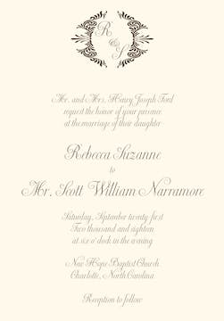 Brown initial invitation on IVORY