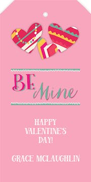 Be Mine Valentine Hanging Gift Tag