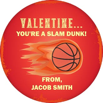 Slam Dunk Basketball Valentine Gift Sticker