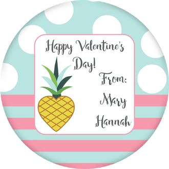 Pineapple Heart Valentine Gift Sticker