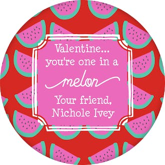 One in a Melon Valentine Gift Sticker