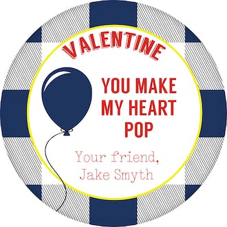 Blue Balloon Valentine Gift Sticker