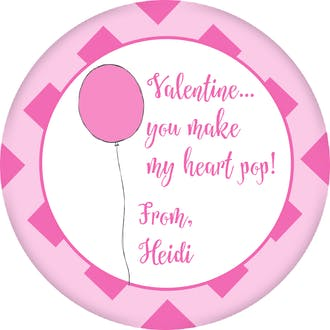 Pink Balloon Valentine Gift Sticker