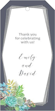 Bright Succulents Foil-Pressed Gift Tag