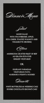 Brilliant Border on Black Foil-Pressed Menu