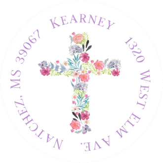 Floral Cross Return Address Sticker
