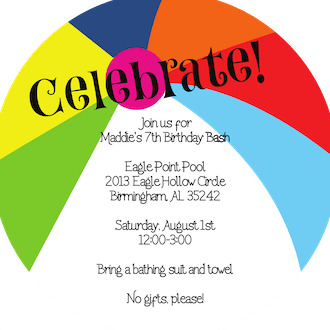 Beach Ball Round Invitation