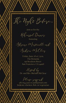 Modern Lines Black Invitation