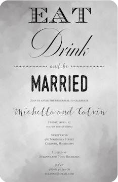 Eat Drink and Be Married Gray Watercolor Invitation