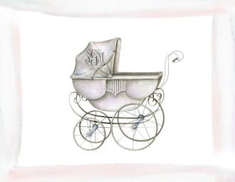Watercolor Carriage-Girl Folded Note