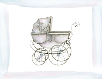 Watercolor Carriage-Boy Folded Note