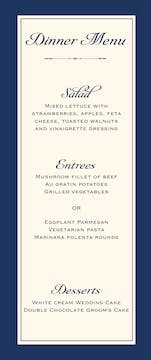 Simply Sophisticated Navy Menu
