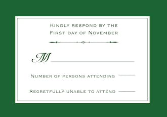Simply Sophisticated Green Reply Card