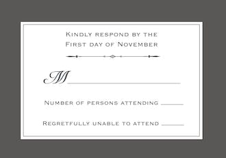Simply Sophisticated Grey Reply Card